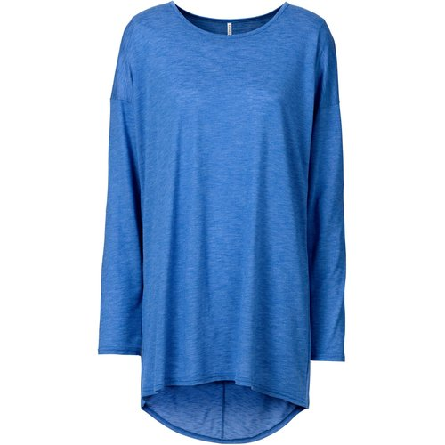 Damen Longshirt aus Flammgarn, in Blau Multi