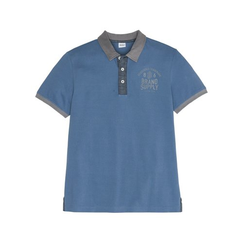 Herren Poloshirt Regular Fit, in Jeansblau bedruckt