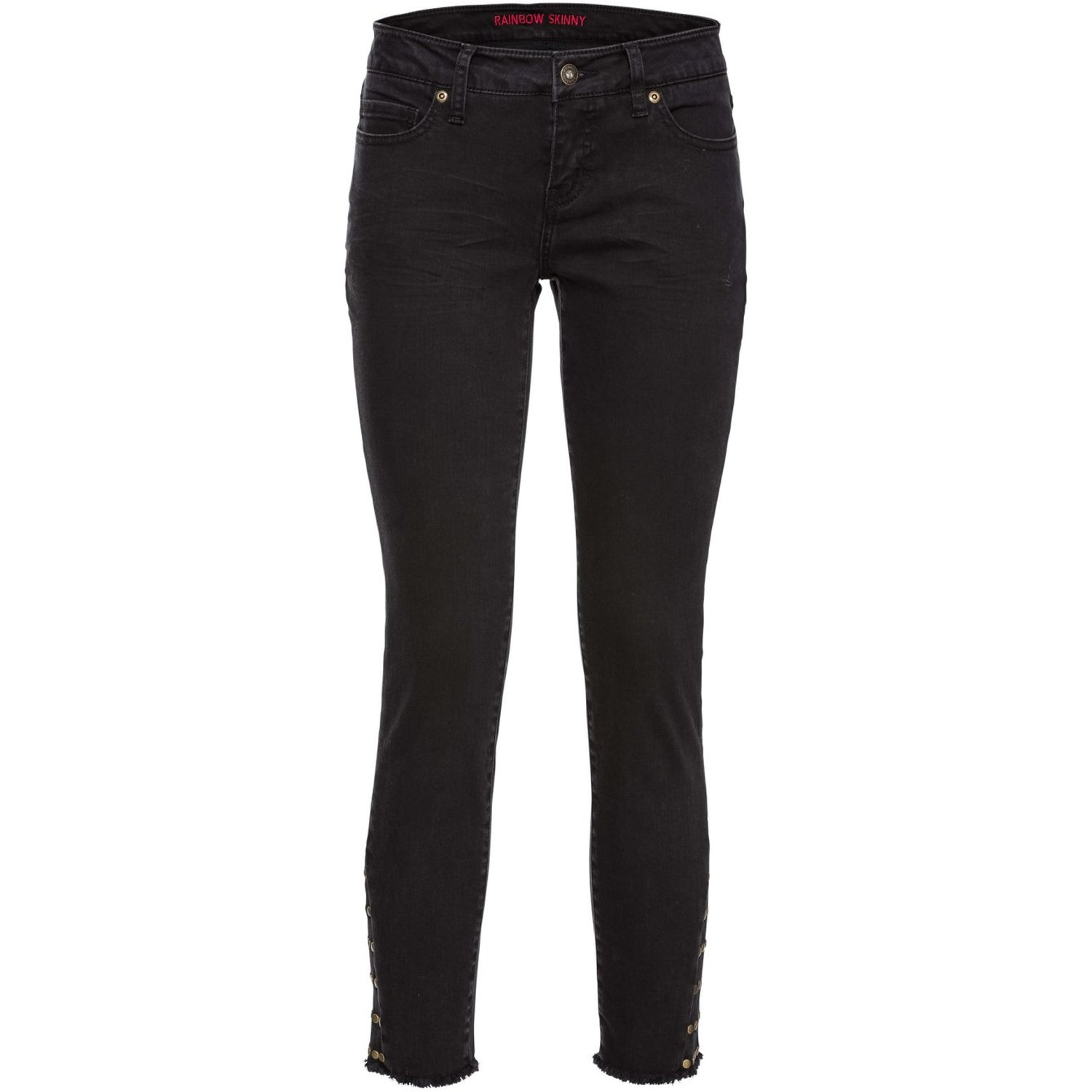 Damen Skinny Jeans mit Nieten am Saum, in Black Denim