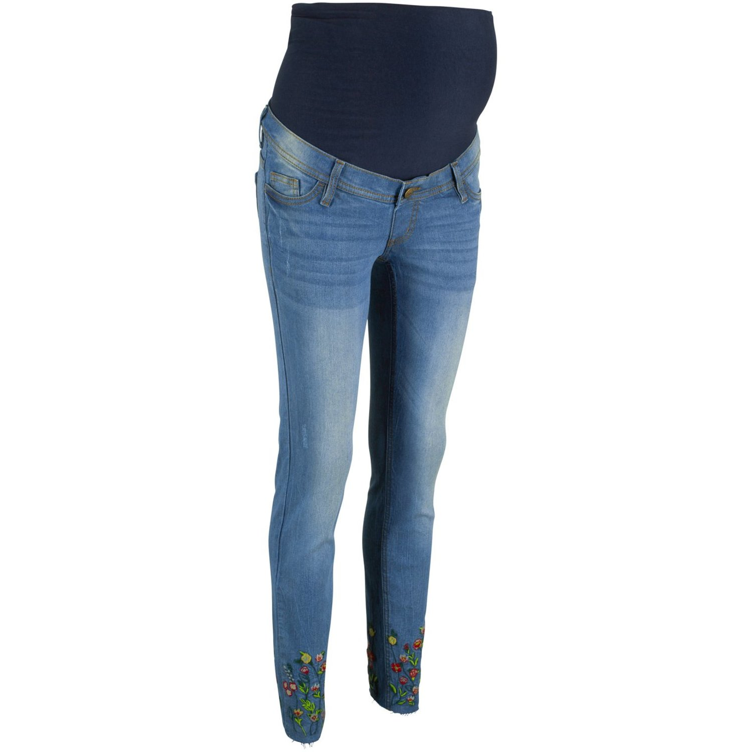 Damen Umstandsjeans mit Stickerei, in Blau