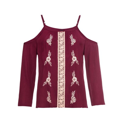 Damen Bluse mit Stickerei, in Bordeaux