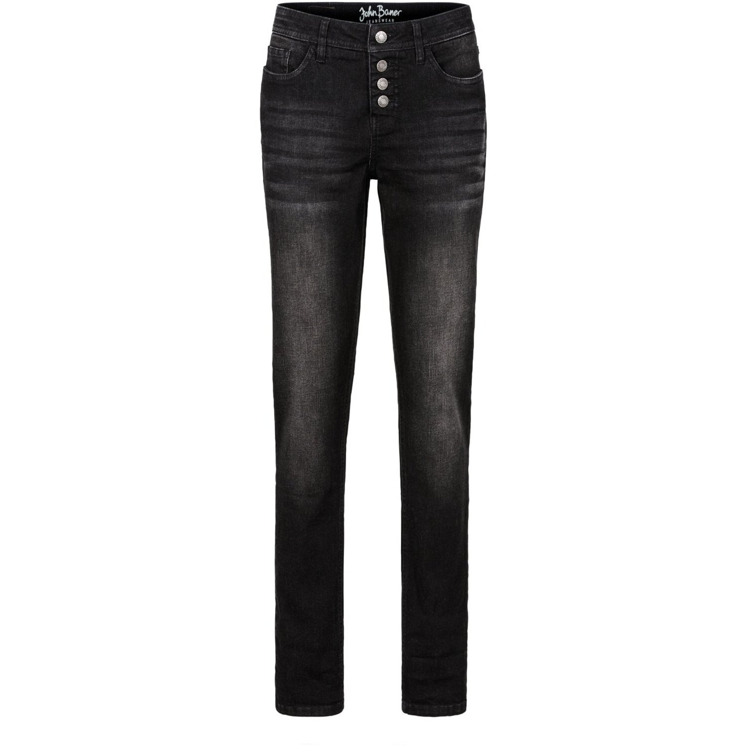 Damen Stretch-Jeans im Boyfriend-Style, in Schwarz