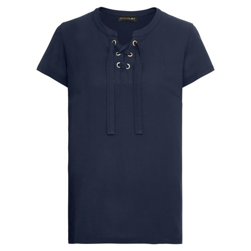Damen Shirt im Material Mix, in Dunkelblau