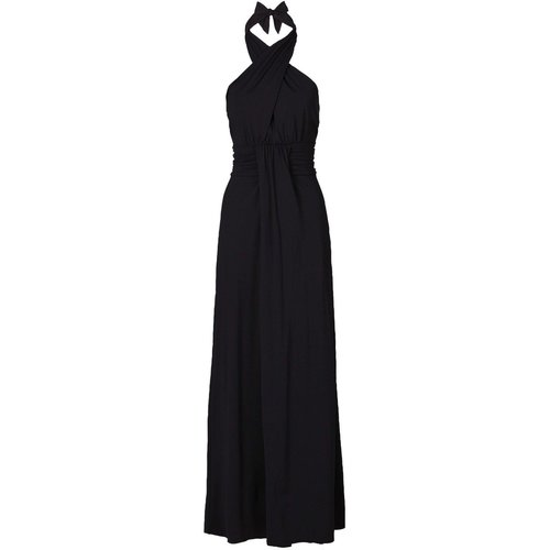 Damen Maxi Kleid in Wickeloptik, in Schwarz