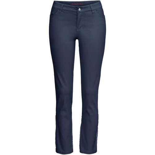Damen Knöchelfreie Stretch-Hose mit Stickerei, 295967 in...