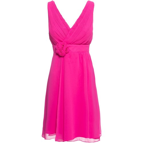Damen Kleid mit Blumenapplikation, in Fuchsia