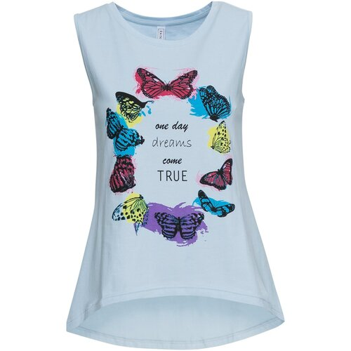Damen Top mit Print, 303096 in Eisblau