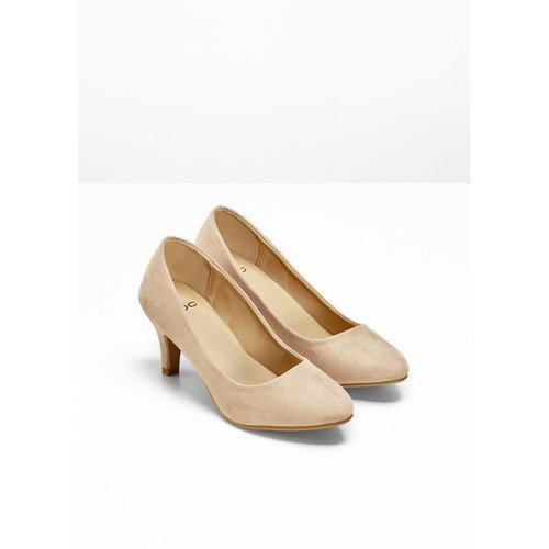 Damen Velourslederimitat Pumps, in Beige