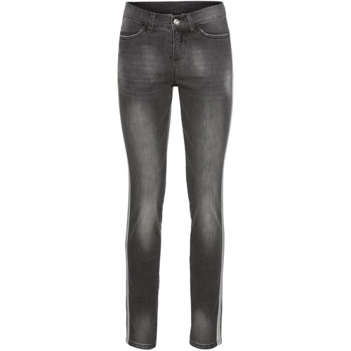Damen Jeans mit Glitzertape, in Grey Denim Used