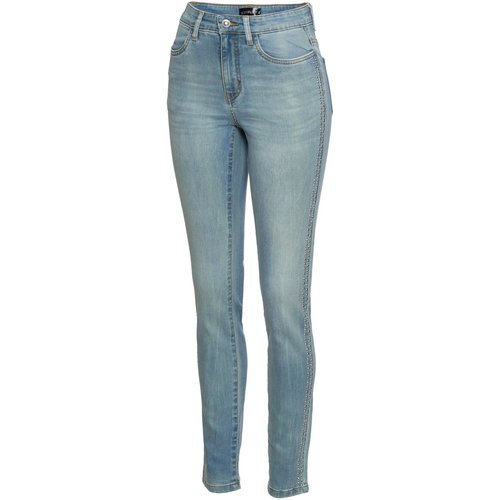 Damen Stretchjeans mit Nieten, 308815 in Blue Bleached Used