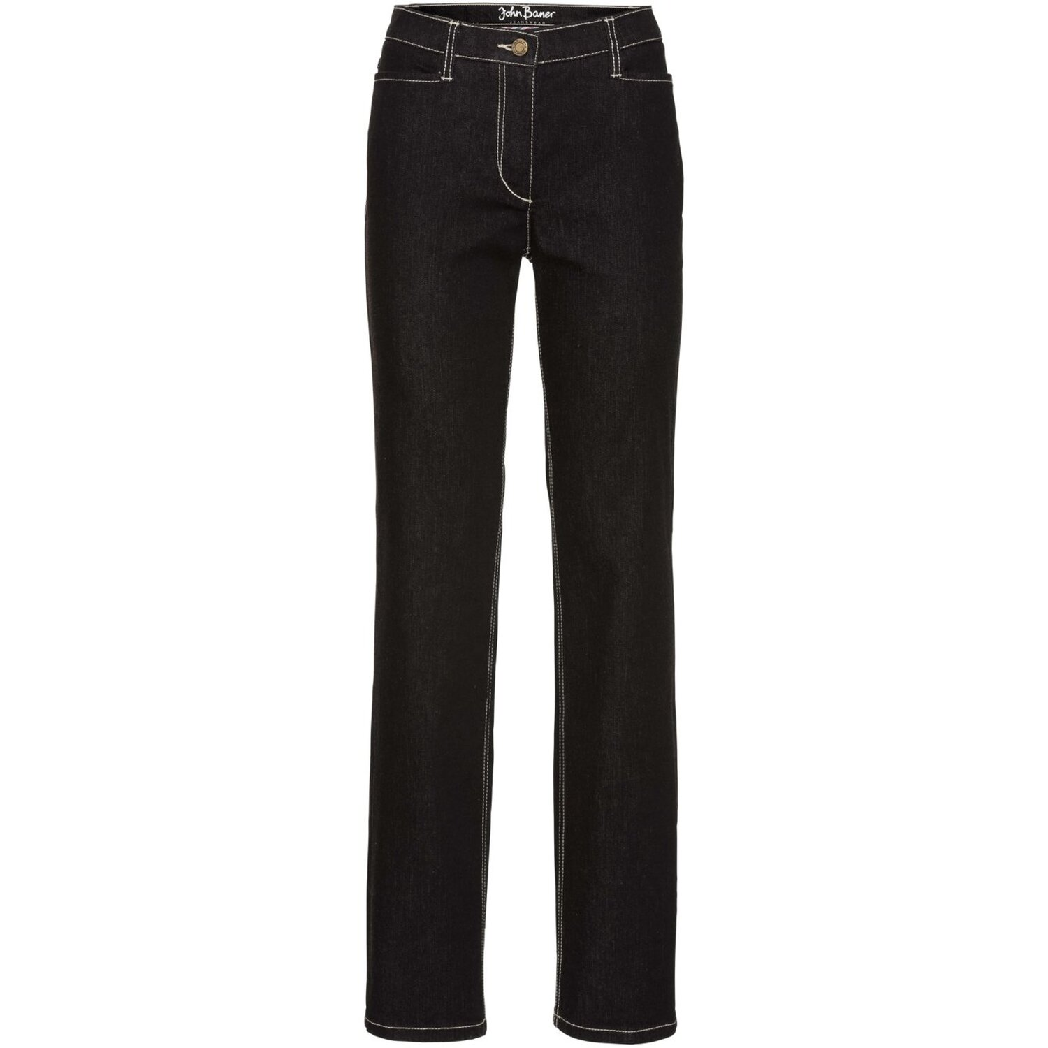 Damen Figurformende Authentic-Stretchjeans STRAIGHT, in Schwarz
