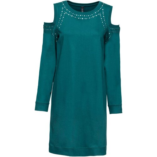 Damen Cold-Shoulder-Kleid mit Nieten, in Petrol