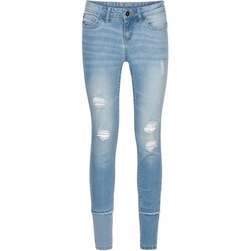 Damen Skinny Jeans im Destroyed-Look, in Blue Bleached