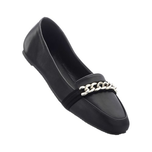 Damen Slipper mit dekorativer Metallkette, in Schwarz