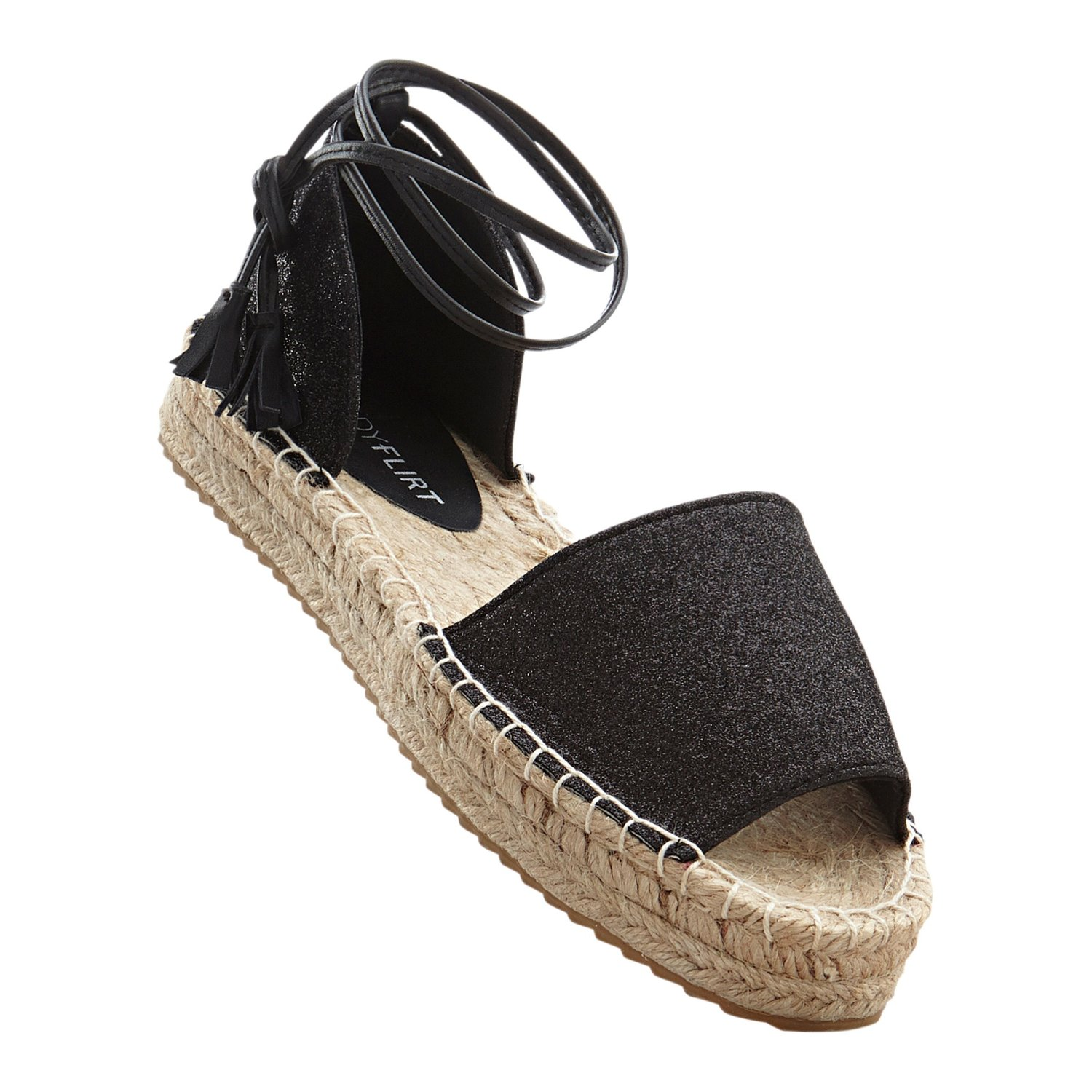 Damen Espadrille in Glitzer-Optik, in Schwarz