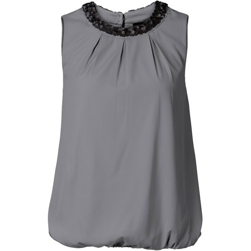 Damen Bluse mit Pailletten, in Grau