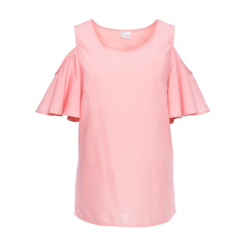 Damen Cold-Shoulder-Bluse mit mit Volant-Ärmeln, in Rosa
