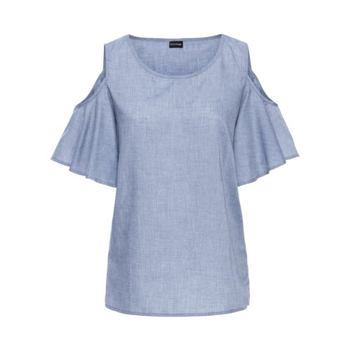 Damen Cold-Shoulder-Bluse mit Volant-Ärmeln, in Blue Stone