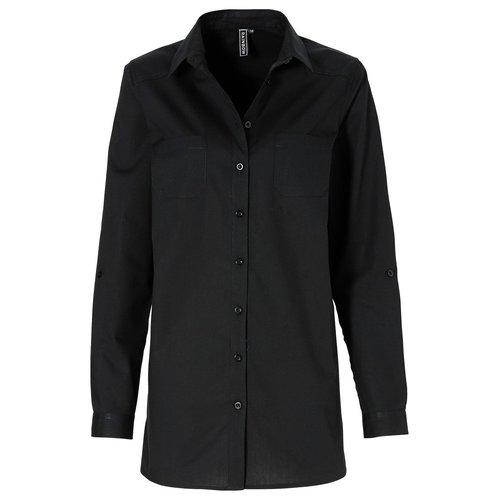 Damen Long Bluse, in Schwarz