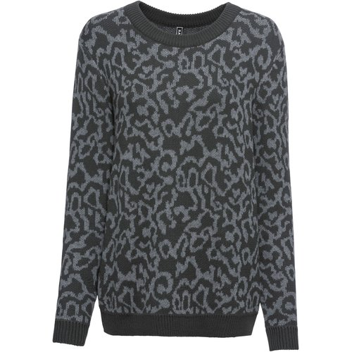 Damen Strickpullover im Leo-Look, in Anthrazit/Grau meliert
