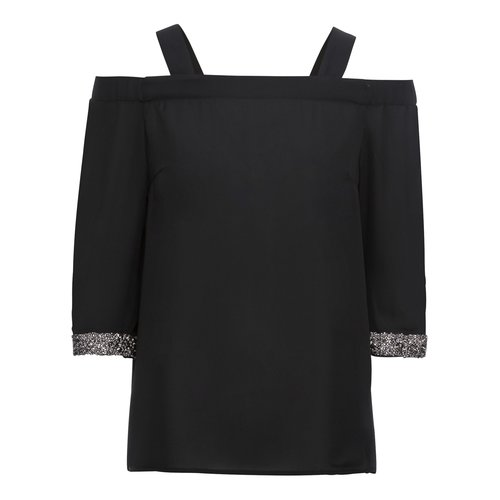 Damen Off Shoulder Bluse mit Glitzersteine, in Schwarz