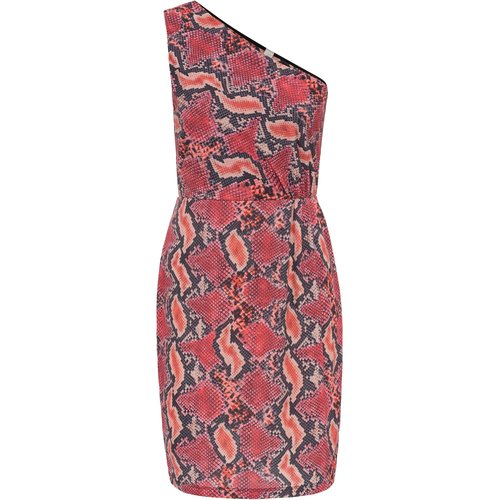 Damen One Shoulder Kleid mit Print, in Pink/Rot/Orange